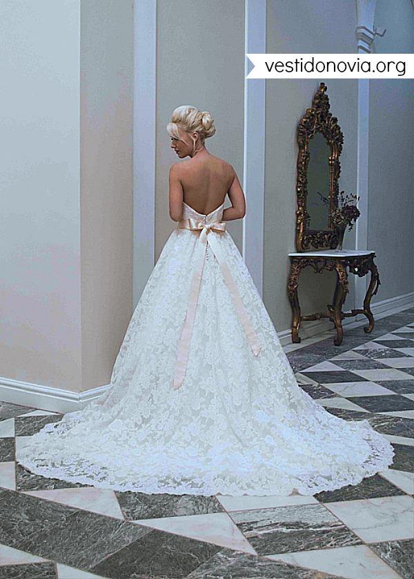 Vestido de novia largo strapless